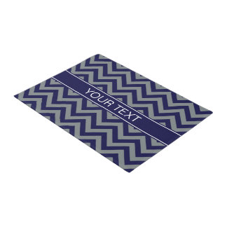 Navy, Charcoal LG Chevron Navy Blue Name Monogram Doormat