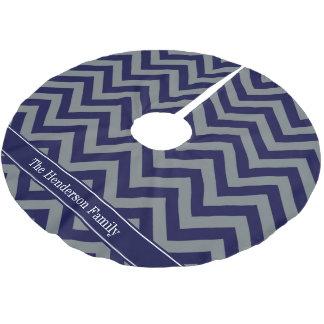 Navy, Charcoal LG Chevron Navy Blue Name Monogram Brushed Polyester Tree Skirt