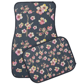 Navy Cherry Blossom Floral Car Mat