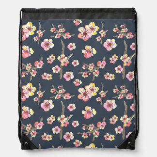 Navy Cherry Blossom Floral Drawstring Bag