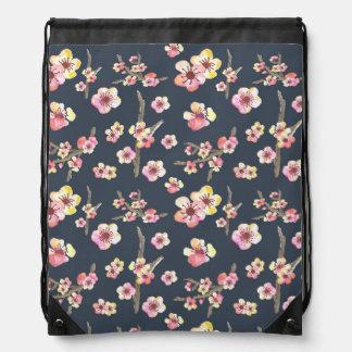 Navy Cherry Blossom Floral Drawstring Bag