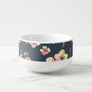 Navy Cherry Blossom Floral Soup Bowl With Handle