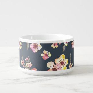 Navy Cherry Blossom Floral Chili Bowl