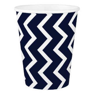 Navy Chevron Paper Cup
