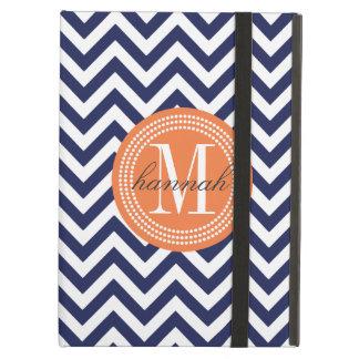 Navy Chevron Zigzag Personalized Monogram Case For iPad Air