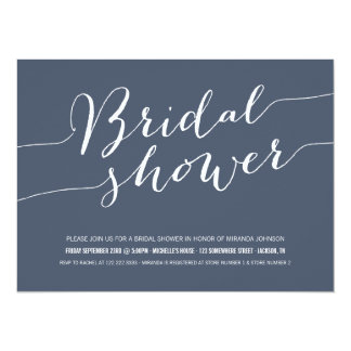 Navy Chic Bridal Shower Invitations