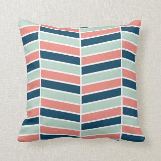 Navy, Coral and Aqua Herringbone Pattern Cushion