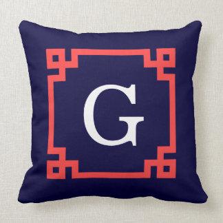 Navy, Coral Red Greek Key Frame #2 Init Monogram Cushion