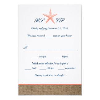 Navy & Coral Starfish Beach Wedding RSVP Cards 9 Cm X 13 Cm Invitation Card