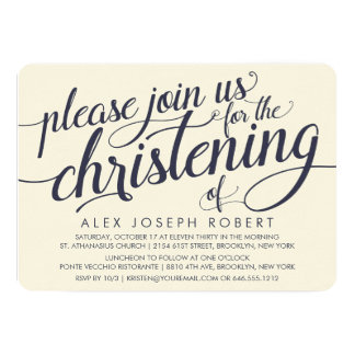 Navy & Cream Calligraphy Christening Invitations