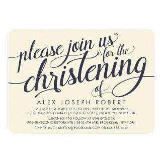 Navy & Cream Calligraphy Christening Invitations