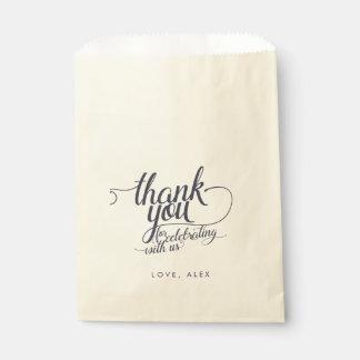 Navy & Cream Calligraphy Thank You Favor Bags