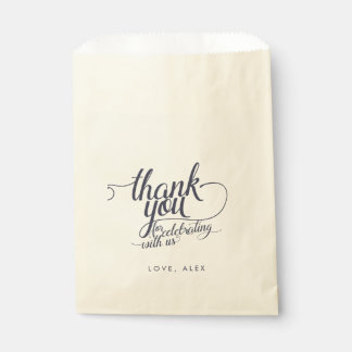 Navy & Cream Calligraphy Thank You Favor Bags Favour Bags