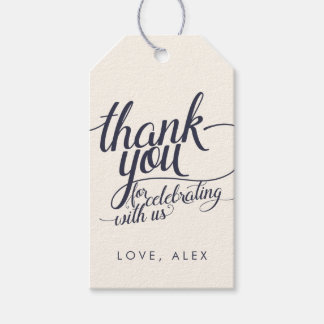 Navy & Cream Calligraphy Thank You Favor Tags