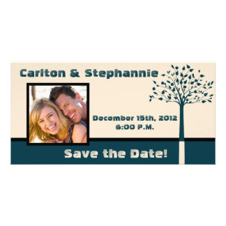 Navy/Creme Tree Wedding Photo Announcement Photo Greeting Card