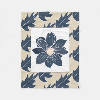 Navy Dahlia Flowers & Leaf with Beige Fleece Blanket