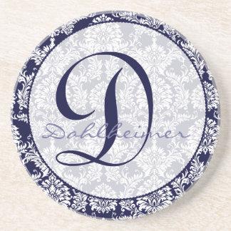 Navy Damask Monogram Wedding Anniversary Coaster