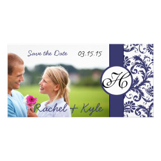 Navy Damask Save the Date Personalized Photo Card