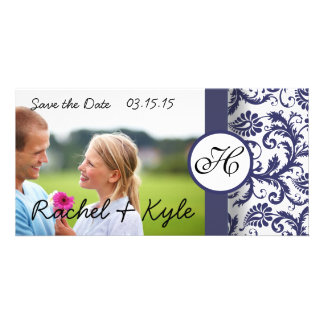 Navy Damask Save the Date Customized Photo Card