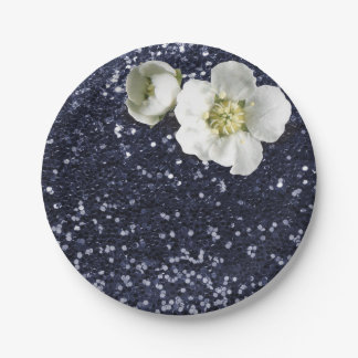 Navy Deep Blue White Jasmine Glitter 7 Inch Paper Plate