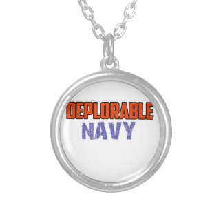 NAVY DESIGN SILVER PLATED NECKLACE