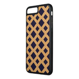 Navy Diamonds on Cherry Wood Inlay Carved iPhone 8 Plus/7 Plus Case