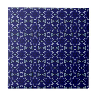 Navy Digital Floral Small Square Tile