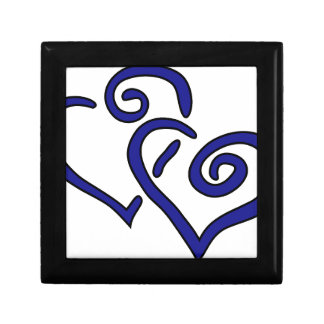 Navy Double Heart Small Square Gift Box