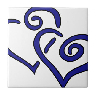 Navy Double Heart Small Square Tile