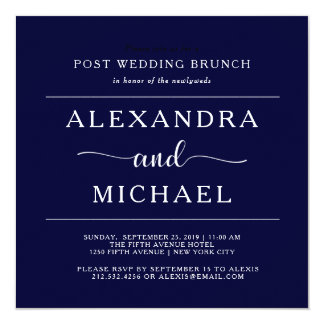 Navy Elegance | Minimalist Post Wedding Brunch Card
