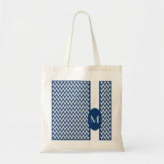 Navy Elegant Chevron Design with monogram Tote Bag