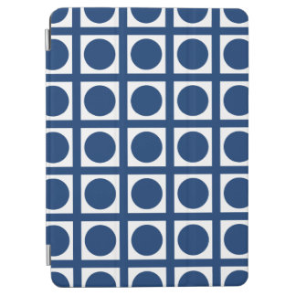 Navy Elegant Grid Dots iPad Air Cover