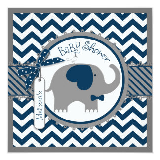 Navy Elephant and Chevron Print Baby Shower Card