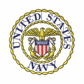 Navy Emblem Embroidered Hoodie