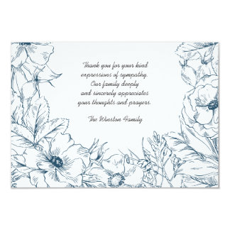 Navy Embrace - Bereavement Thank You Notecard