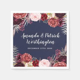 Navy Fall Marsala Blush Peony Wedding Napkins Paper Napkin