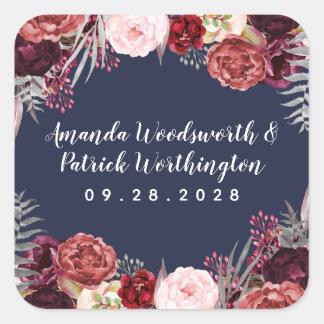 Navy Fall Marsala Blush Pink Peony Wedding Favor Square Sticker