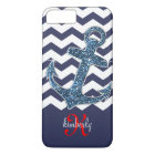 Navy Faux Glitter Anchor Chevron Personalised iPhone 8 Plus/7 Plus Case