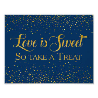 Navy Faux Gold Glitter Confetti Wedding Dessert Poster