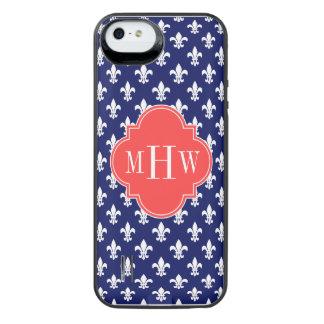 Navy Fleur de Lis Coral Red 3 Initial Monogram iPhone SE/5/5s Battery Case