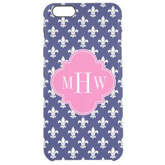 Navy Fleur de Lis Hot Pink 3 Initial Monogram Clear iPhone 6 Plus Case