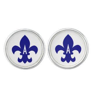Navy Fleur de Lis Monogram Cuff Links