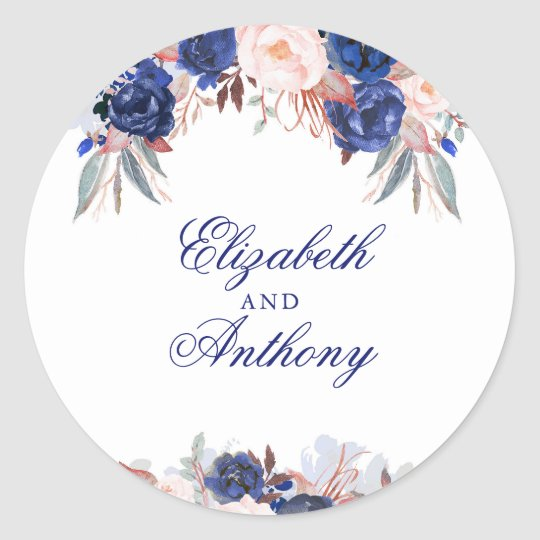 Navy Floral Boho Chic Wedding Classic Round Sticker