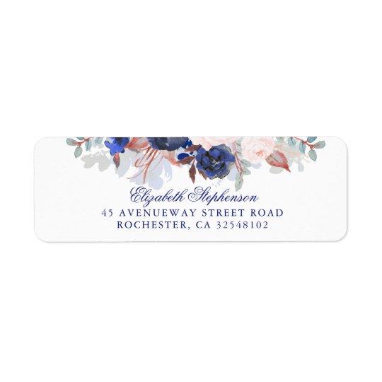 Navy Floral Boho Chic Wedding Return Address Label