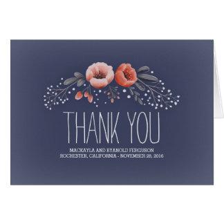 Navy Floral Bouquet Baby's Breath Wedding Card