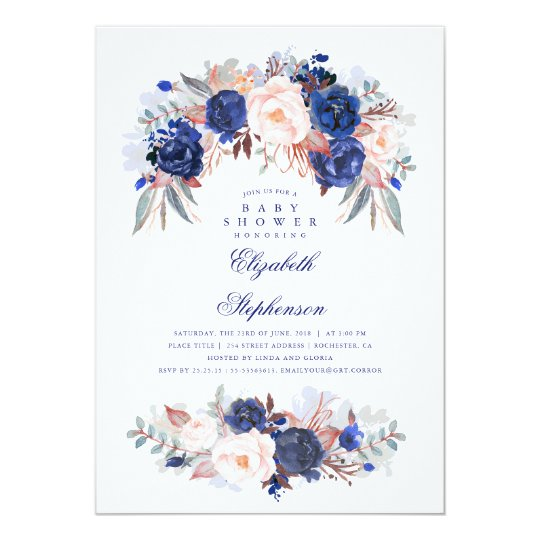 Navy Floral Elegant and Modern Baby Shower Card