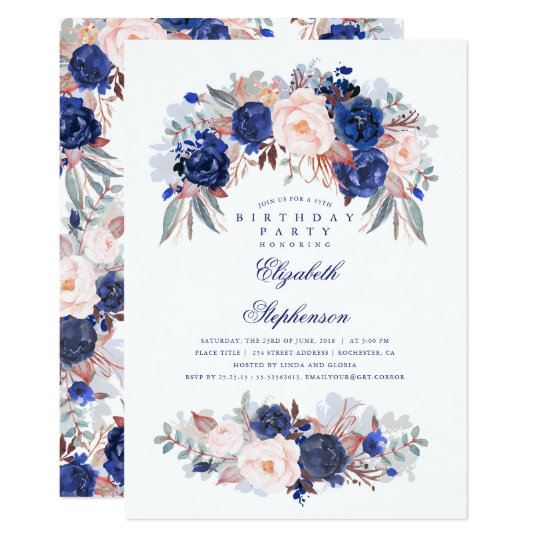 Navy Floral Elegant and Modern Birthday Party Card