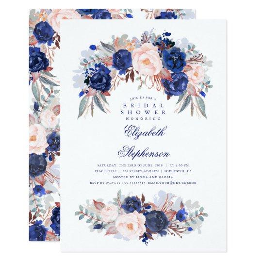 Navy Floral Elegant and Modern Bridal Shower Card