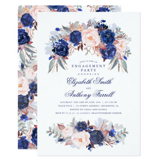 Navy Floral Elegant and Modern Engagement Party Card