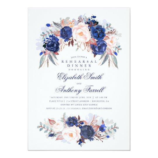 Navy Floral Elegant and Modern Rehearsal Dinner Card